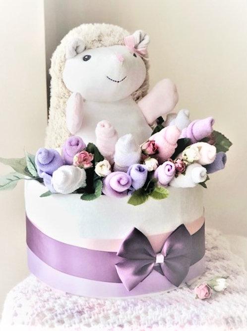 Lilac Baby Diaper Cake - Baby Girl Diaper Cake
