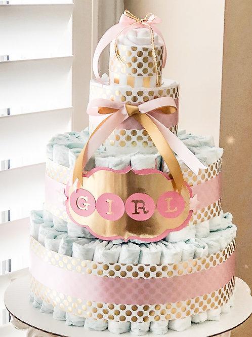 Pink Elegance Diaper Cake - Baby Girl Diaper Cake