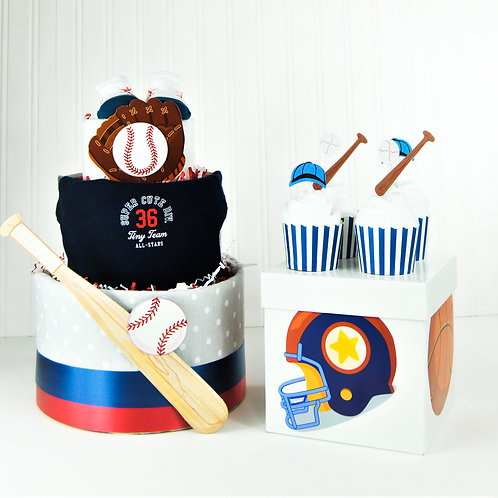 Baseball Diaper Cake and 4 Cupcakes set