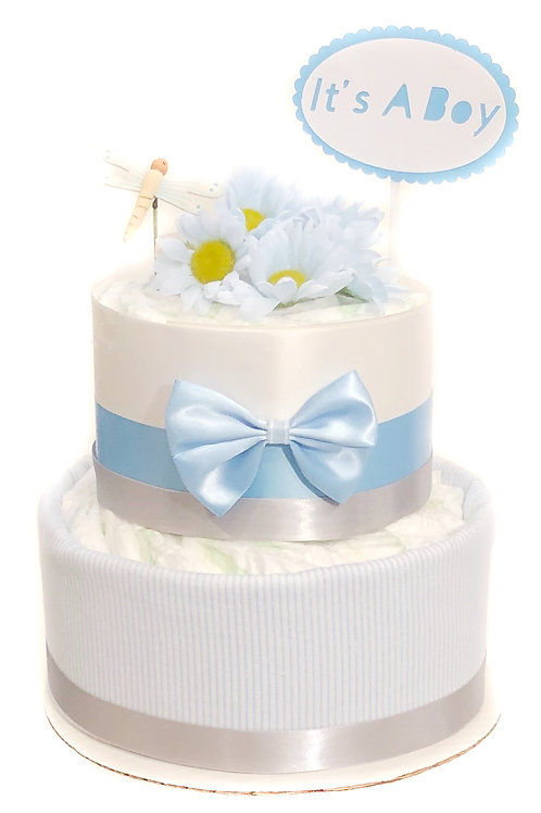 Floral Baby Blue -Baby Diaper Cake