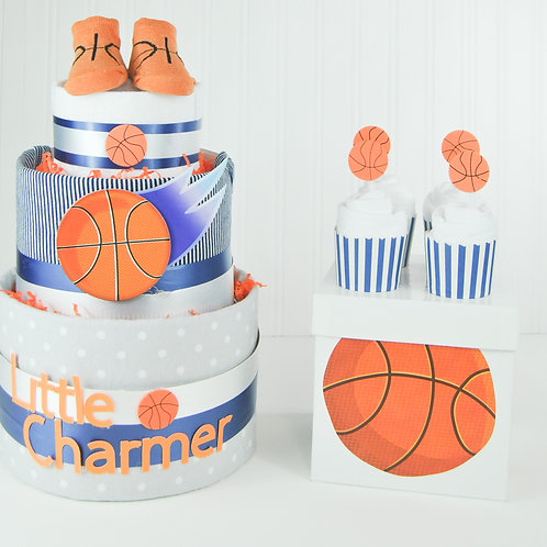 Little Charmer Basketball Diaper Cake with onesie Cupcakes