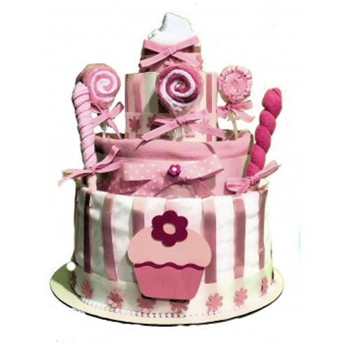 Candyland Diaper Cake - Baby Girl Diaper Cake