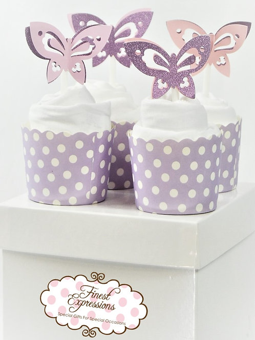 Lilac Butterfly - Baby Onesie Cupcakes