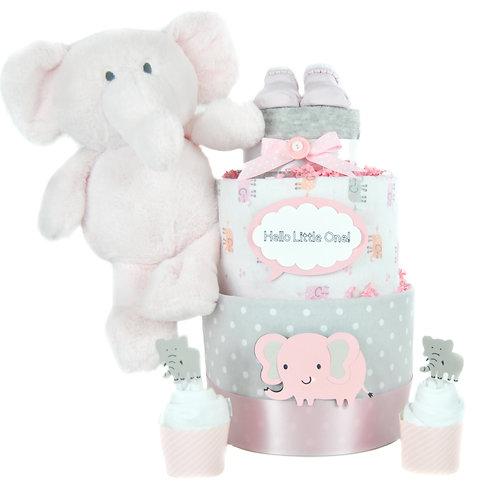 Baby Elephant Diaper Cake - Baby Girl Diaper Cake with Onesie Cupcakes