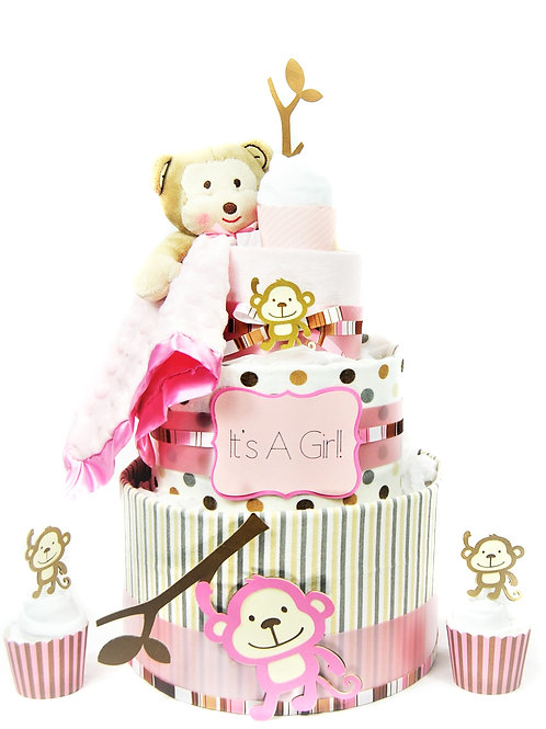 Baby Monkey - Baby Girl Diaper Cake with Cupcakes