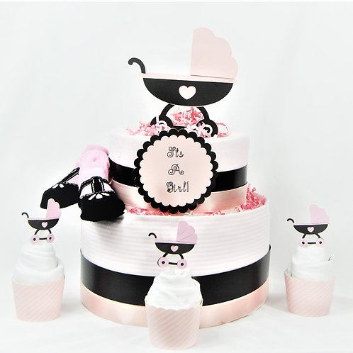 Baby Carriage- Baby Diaper Cake with Cupcakes
