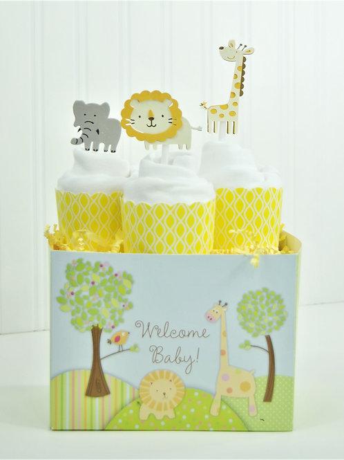 Lion Safari - Baby Onesie Cupcakes