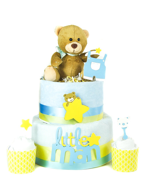 Sweet Teddy -  Baby Diaper Cake with Onesie Cupcakes