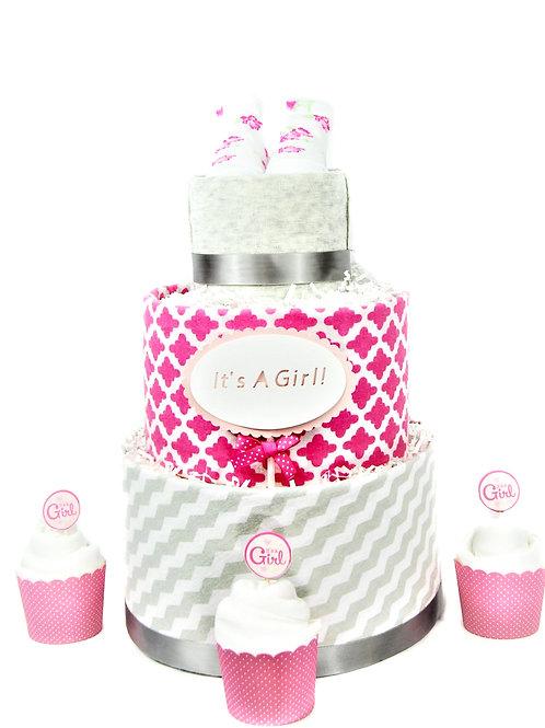 Pink Damask - Baby Girl Diaper Cake