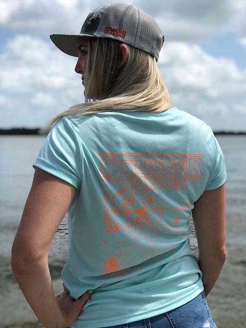 Ladies V-Neck Fishing Shirt (Sea Foam w/ Neon Orange)