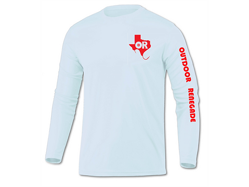 Outdoor Renegade Performance Fishing Shirt (Ice Blue with Red)
