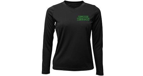 """STRINGER THINGS"" Ladies V-Neck Fishing Shirt (Black w/ Neon Green)"