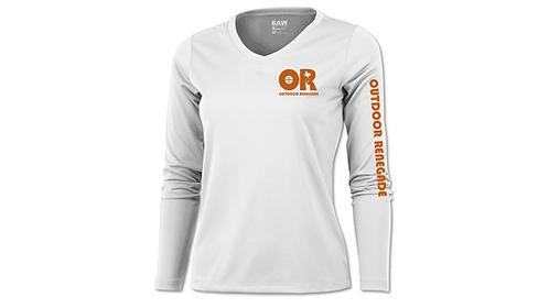 Outdoor Renegade Fishing Shirt-Ladies V-Neck (White w/ Burnt Orange)