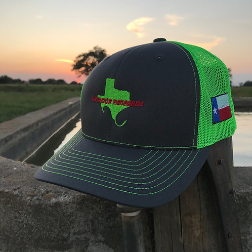 Outdoor Renegade TXHOOKS/TXFLAG Cap (Charcoal/Neon Green w/ Neon Green/Red)