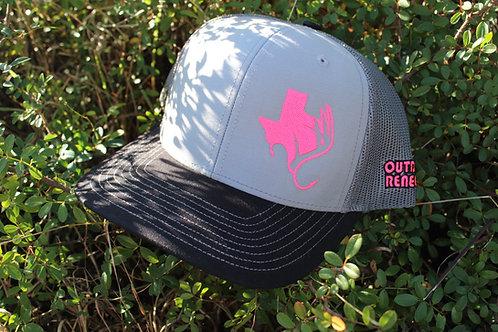 Outdoor Renegade TXANTLER Cap (Grey/Char./BLK w/ Neon Pink)
