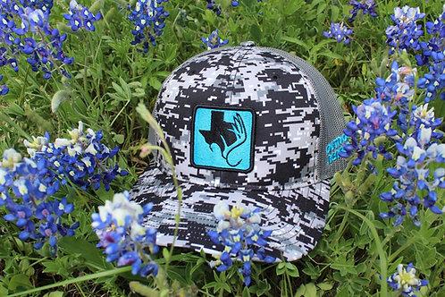 Outdoor Renegade Patch Cap (Black Digital Camo & Neon Blue)