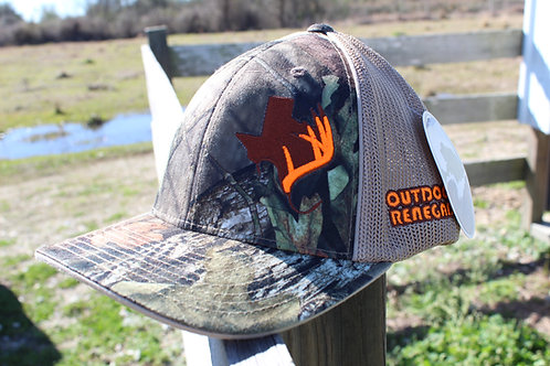 Outdoor Renegade TXANTLER CAP: Mossy Oak/ Khaki with Brown and Neon Orange