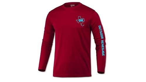Outdoor Renegade Fishing Shirt (Cardinal w/ Neon Blue)