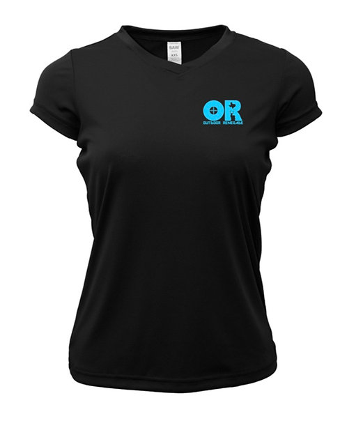Outdoor Renegade Short Sleeve Ladies V-Neck (Black with Neon Blue)