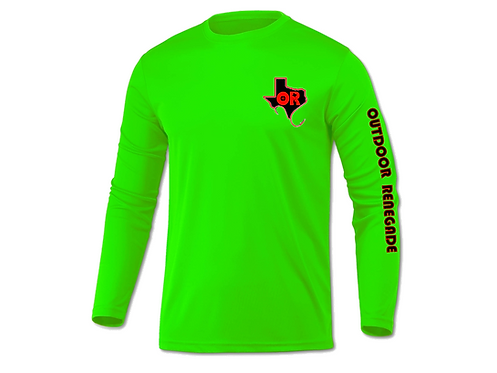Men's Outdoor Renegade Fishing Shirt (Neon Green with Black & Red)