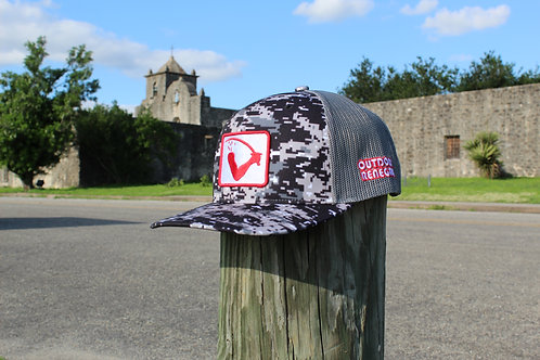 Goliad Flag Patch Cap (Dark Digital Camo with White & Red) *Actual Flag Color*