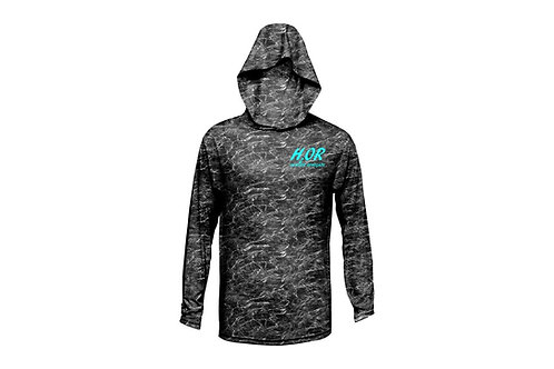"Outdoor Renegade ""H2OR"" Fishing Shirt - Hooded (Blacktip with Ice Blue)"