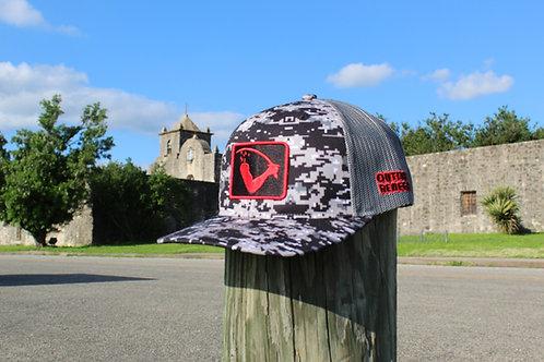 Goliad Flag Patch Cap (Dark Digital Camo with Black & Red)