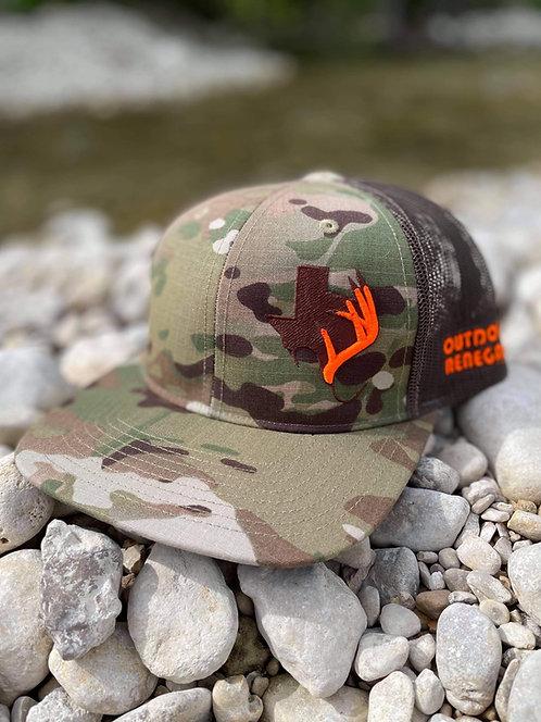 Outdoor Renegade TXANTLER CAP: Multi-Cam, Coyote Brown & Hunter Orange