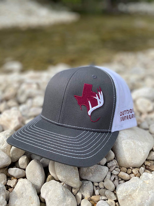 Outdoor Renegade Cap (Charcoal/White Maroon TX with White Antler)