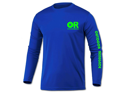 Men's Outdoor Renegade Fishing Shirt (Royal Blue with Neon Green)