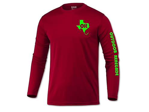 Men's Outdoor Renegade Fishing Shirt (Cardinal and Neon Green)