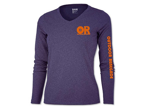Ladies Outdoor Renegade Fishing Shirt (Heather Purple with Neon Orange)