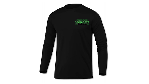 """""""STRINGER THINGS"""" Outdoor Renegade Fishing Shirt (Black with Neon Green)"""