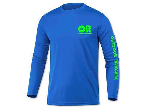 Men's Outdoor Renegade Fishing Shirt (Electric Royal Blue with Neon Green)