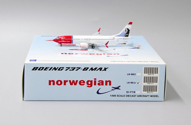 Norwegian B737-8MAX Reg: LN-BKA JC Wings 1:400 Diecast Model XX4151