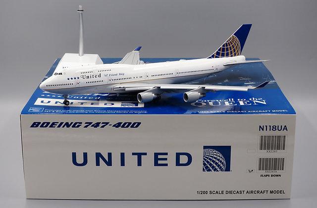 United B747-400 LAST Flight Reg: N118UA FlAP DOWN JC Wings 1:200 Diecast XX2203A