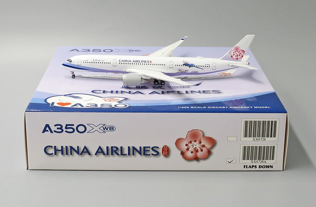 China Airlines A350-900 FLAP DOWN B-18908 JC Wings 1:400 Diecast model XX4728A