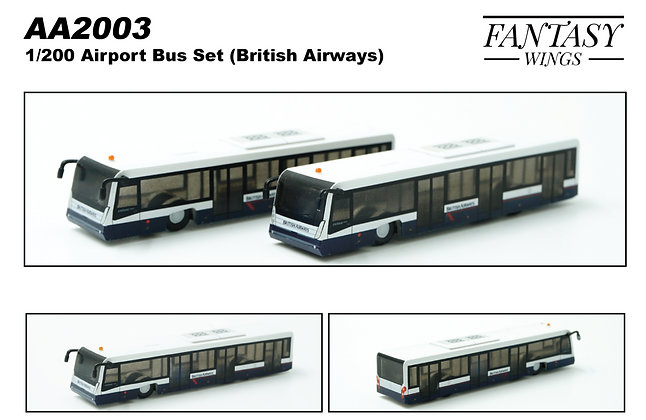 Airport Passenger Bus ( BA Airline ) 1/200 Set of 2 Fantasywings AA2003