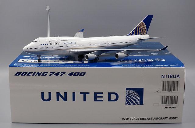 United B747-400 LAST Flight Reg: N118UA JC Wings 1:200 Diecast XX2203