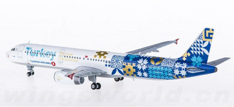 //White Box// Turkish A321 Reg: TC-JRG JC Wings 1:400 Diecast Models XX4305
