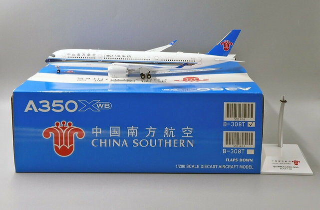 China Southern A350XWB Reg:B-308T JC Wings Scale 1:200 Diecast Model XX2300