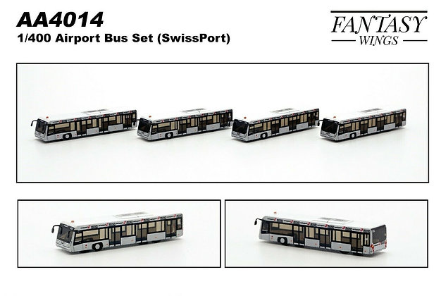 Airport Bus Set (SwissPort) Scale 1/400 (Set of 4) Fantasywings AA4014