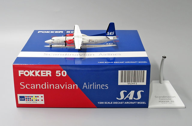 Scandinavian SAS Fokker F-50 Reg: LN-RNC JC Wings 1:200 Diecast Model XX2052
