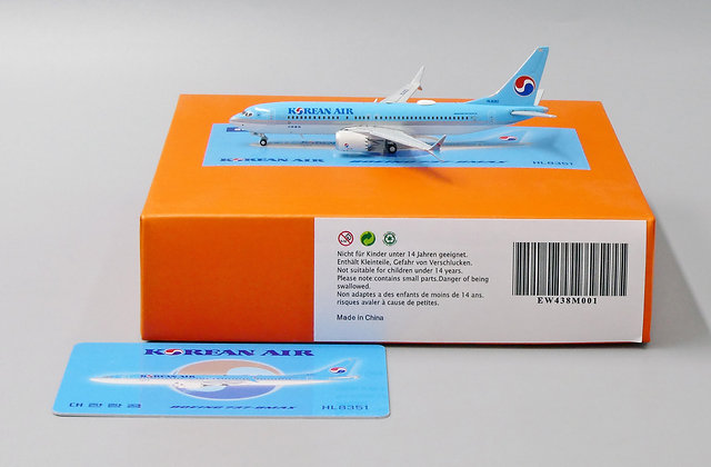Korean Air B737-8MAX Reg: HL8351 EW Wings Scale 1:400 Diecast Model EW438M001