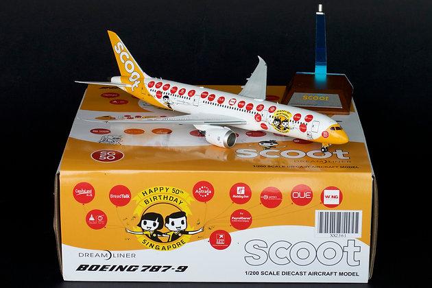 """Scoot B787-9 Dreamliner Reg: 9V-OJE """"50th"""" JC Wings 1:200 Diecast Models XX2361"""