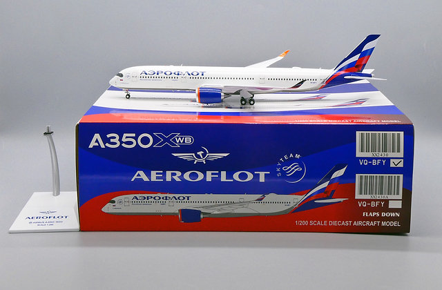 Aeroflot A350XWB Reg: VQ-BFY JC Wings Scale 1:200 Diecast model XX2430