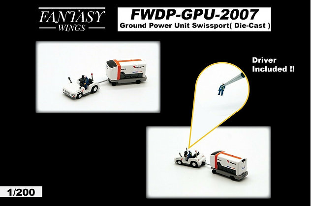 Ground Power Unit Set (Swissport) Scale 1:200 Diecast Fantasywings FWDP-GPU-2007