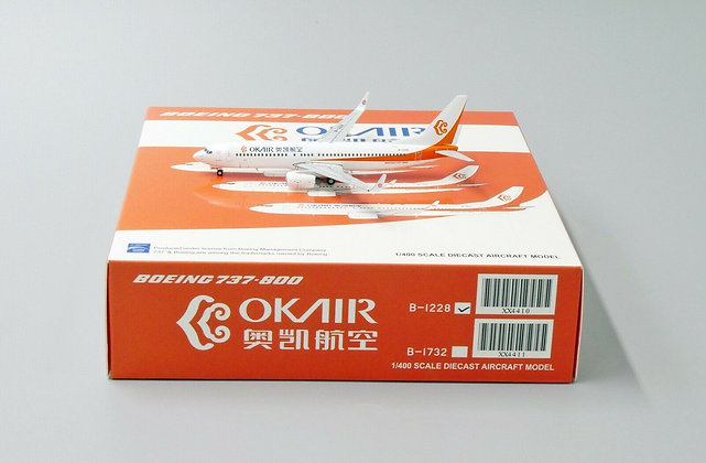 OKAIR B737-800 Reg: B-1228 JC Wings Scale 1:400 Diecast Model XX4410