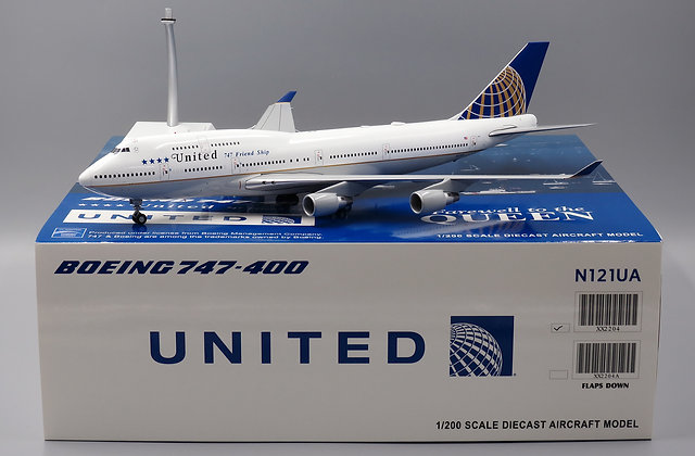 United B747-400 Reg: N121UA Diecast model Scale 1:200 JC Wings XX2204