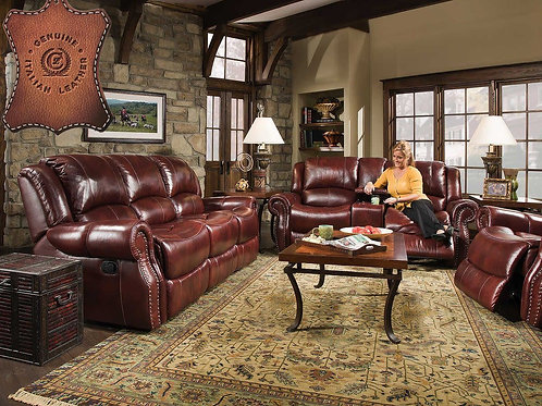 Softie Oxblood Reclining Sofa & Loveseat